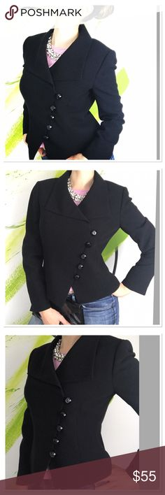 """Tahari black dress jacket asymmetrical buttons Tahari by Arthur S. Levine black dress suit designer jacket. Gorgeous closet staple! Featuring all buttons closure asymmetrically makes it unique and original, padded shores, fully lined. Beautiful jacket to wear to work or any special occasion. Spectacular quality- 100% polyester.  Like new condition. Size 8, will be good for M and S. measurements are- pit to pit 19"""" length 21"""" Tahari Jackets & Coats"""