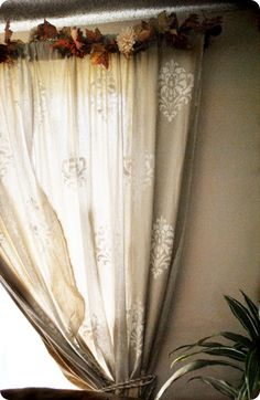DIY tutorial for damask stenciled linen curtains inspired by Ballard Designs curtains