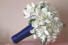this gardenia bouquet would be gorgeous wrapped in my dark red color with some bling :) Floral Wedding, Wedding Bouquets, Wedding Flowers, Gardenia Bouquet, Gardenias, Wedding 2017, Dream Wedding, Orange Wedding Themes, Wedding Binder