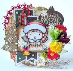 From our Design Team! Card by Alexandra Morein featuring Christmas Bell Marci and these Dies - Build-a-Christmas-Tree, Candy Cane, Christmas Ornament 1, Small Snowflakes, Snowflake Flag Banner :-) Shop for our products here - shop.lalalandcrafts.com Coloring details and more Design Team inspiration here - http://lalalandcrafts.blogspot.ie/2015/12/inspiration-friday-color-inspiration.html