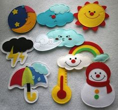 Cute idea for teaching weather and times of day - could put magnets! Quiet book page idea Felt Diy, Felt Crafts, Fabric Crafts, Diy And Crafts, Crafts For Kids, Quiet Book Patterns, Felt Patterns, Felt Stories, Felt Quiet Books