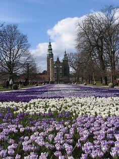 The flower path to Rosenborg Castle in Copenhagen, Denmark
