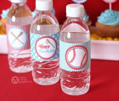 Vintage Sport Baseball Birthday Party - DIY PRINTABLE Water Bottle Drink Label - Instant Download - PS804CA1g