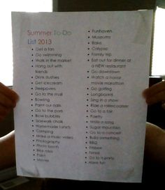 Summer To Do List 2013