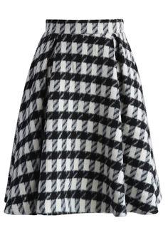 Fancy Check Print Woolen Pleated Skirt