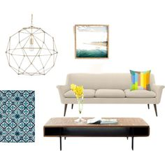 pops of yellow by laura-mozes on Polyvore featuring interior, interiors, interior design, home, home decor, interior decorating, Murphy, nuLOOM, DENY Designs and Kolor