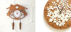 Laser cut white acrylic and bamboo clocks from decoylab