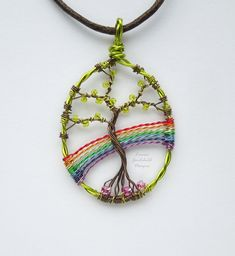 Rainbow wire tree pendant, wire rainbow pendant, rainbow necklace, tree necklace MADE TO ORDER