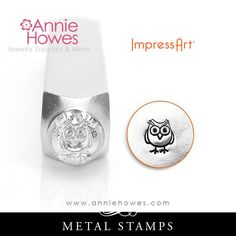 """Impressart Metal Stamp - Owl Design Shape SIZE: 6mm (1/4"""") This punch is suitable on softer metals, such as nickel silver, copper, brass, aluminum, and pewter, as well as leather, polymer clay and epo"""
