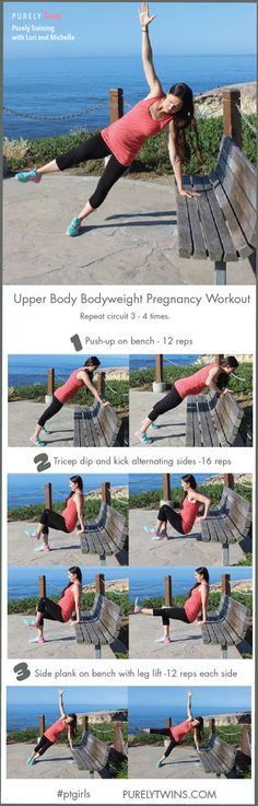 Keep you arms fit and strong during your pregnancy with these 3 exercises. Upper body pregnancy workout using a bench. A fun workout for busy women. Click for follow along video and printable PDF.