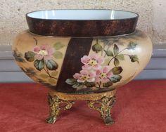 jardiniere coupe vase opaline metal dore 1900