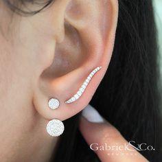 14k White Gold Ear Climber Diamond Earrings