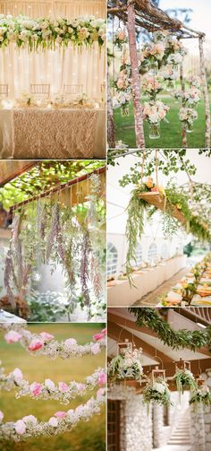 garden weddings inpired flowers hanging wedding decorations