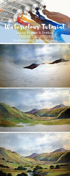 Tutorial by artist Charles Evans using Winsor & Newton Professional Watercolour Desert Collection colours to paint a beautiful Scottish Highland landscape. My art teacher purchased these paints. Watercolor Tips, Watercolour Tutorials, Watercolor Techniques, Painting Techniques, Watercolor Paintings, Watercolours, Landscape Watercolour, Watercolour Step By Step, Watercolour Mountains