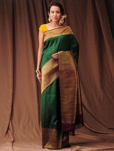 Buy Green Burgundy Zari Kanjivaram Silk Saree Sarees Woven Silken Wonder Handloom Online at Jaypore.com