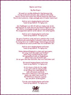 """Poem: """"Hymns and Arias"""" - by Max Boyce (""""And we were singing, hymns and arias, land of my fathers, ar hyd y nos""""). Learn Welsh, Welsh Words, Welsh Language, Wales Rugby, Saint David's Day, Weekend In London, Cymru, Music Film, South Wales"""