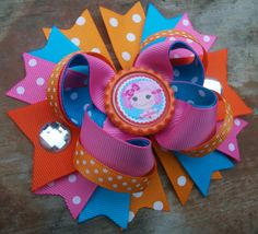 LaLa Loopsy Inspired Orange 5 Inch Stacked Boutique Bow / Birthday Bow    Made with grosgrain ribbon, a bottle cap in the center, large clear jewels