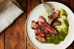 Grilled Steak With Carrot Top Chimichurri Sauce recipe on Food52