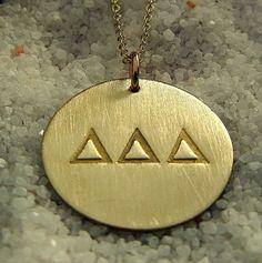 Tri Delta Delta Delta Delta Sorority Necklace Gold by ERiaDesigns, $55.00