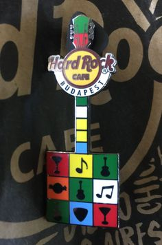 Hard Rock Cafe Budapest 2012 Square Guitar Pin.
