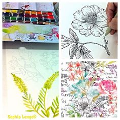 Entire process: drawing, painting and pattern. #surfacedesign #aquarelle…