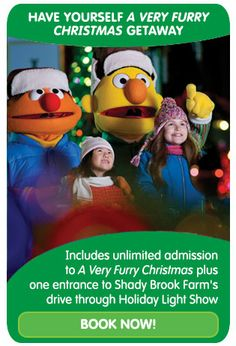 "Have ""A Very Furry Christmas"" at @Sesame Place when you book this combined package for Sesame Place and Shady Brook Farm's Holiday Light Show."