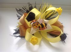Buzzing Bumble bee Bow on Etsy, £7.99