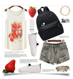 """""""Strawberry Print- SheIn"""" by amra-mak ❤ liked on Polyvore featuring Aéropostale, Links of London and shein"""