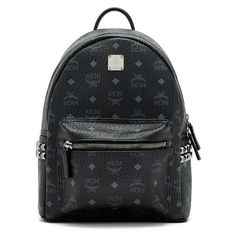 MCM Stark Studded Coated Canvas Mini Backpack (9.587.525 IDR) ❤ liked on Polyvore featuring bags, backpacks, black, mini backpack, coated canvas bag, knapsack bag, mini bag and mcm bag