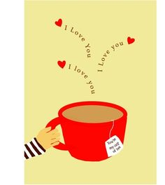 Greeting Card my cup of tea  i love you by LizzyClara on Etsy, $3.50