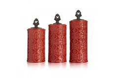 Devi 3 Piece Ceramic Canister Set in Red by American Atelier  #AmericanAtelier