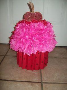 Cupcake Valentine Box used a hat box styrofoam half sphere