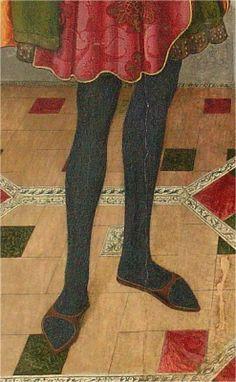 Calzas con chinelas.  San Abdón y San Senén, Jaime Huguet, 1460, Iglesia de Santa María, Tarrasa, Barcelona
