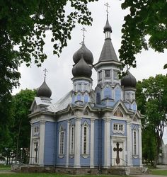 Beautiful church...I love the peaceful blue. One of the things I love about Orthodox churches are the gorgeous colors from top to bottom. This one is in Druskininkai, Lithuania.