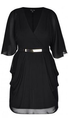 Plus Size Black Wrap Dress - City Chic