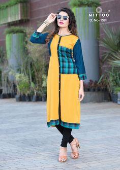ea58b31617 #yellow #blue #colourful #rayon #kurtis | yellow and blue colourful kurtis