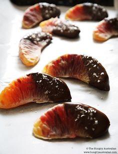 Blood oranges dipped in dark chocolate & sprinkled w/ sea salt!
