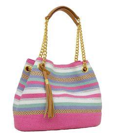 Pink & White Medley-Stripe Shoulder Bag by Magid #zulilyfinds