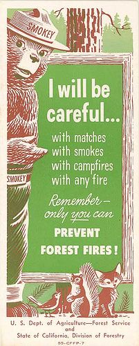"""Smokey the Bear: Only YOU can prevent forest fires."