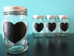 heart chalkboard painted mason jars for the engagement party! by louellaa