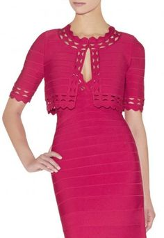 New Style Red Herve Leger Figure-hugging Dress