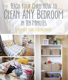 "Does your child live in a room that could serve as a set in the crime drama ""CSI-Magic Kingdom""? Here is how to teach your child to clean ANY bedroom in ten minutes Deep Cleaning Tips, House Cleaning Tips, Spring Cleaning, Cleaning Hacks, Cleaning Room, Zone Cleaning, Cleaning Painted Walls, Chores For Kids, Children Chores"