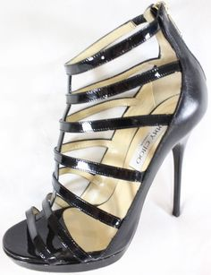 "~~~ SOOO HOT! ~~~ KILLER JIMMY CHOO BLACK PATENT/LEATHER ""CAGED"" HEELS ~ 38.5 #JimmyChoo #PeeptoeCagedHeels #Casual"