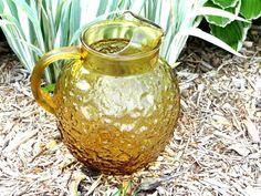 Vintage Amber/Honey Gold Glass Pitcher by Anchor Hocking by TimelessTreasuresbyM
