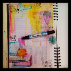 lined journal for writing . . . painting only parts of the page