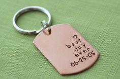 Best Day Ever Keychain - in Copper - with Wedding Date - Personalized Husband Gift - Awesome Anniversary or Wedding Gift! on Etsy, $18.00