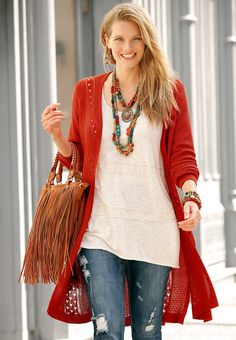 Swing Style | Put your standout style in motion with our pointelle duster cardigan & distressed jeans. Add a pop of personality with a colorful statement necklace & fringe tote.