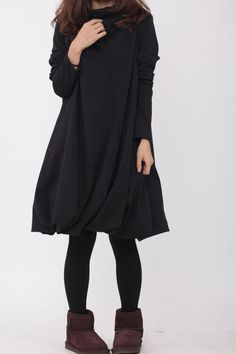 Pile collar cotton dress in black by MaLieb on Etsy, $69.00