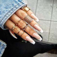 Nude Nails, Pink Nails, Gel Nails, Almond Nails French, French Nails, White Tip Acrylic Nails, Toe Nail Art, Artificial Nails, Glue On Nails