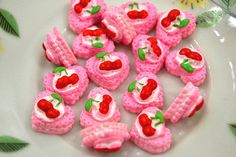 Miniature Cake Cabochon Pink Cherry Heart Cake by NamiSupplies